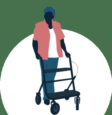oude vrouw met rollator
